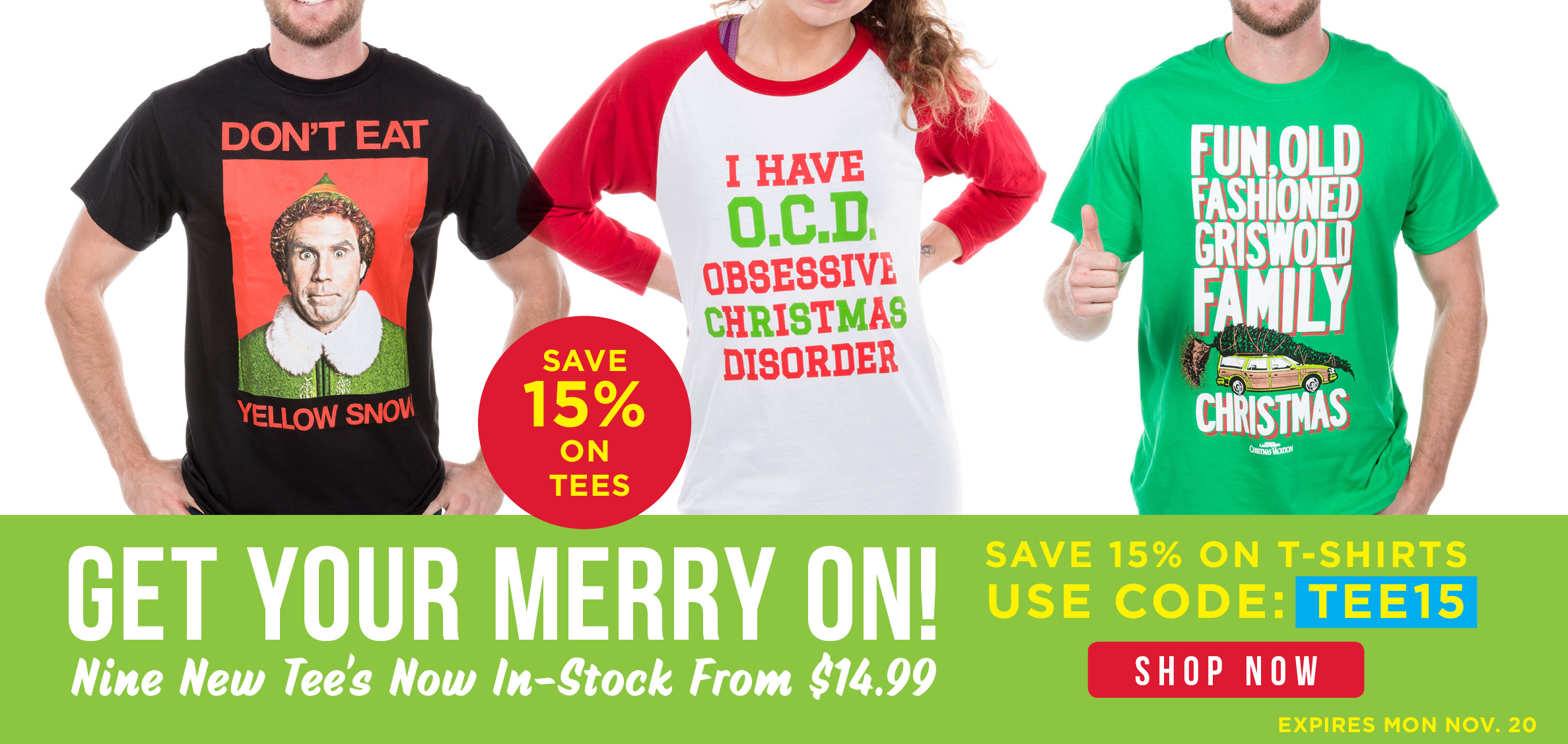 15% Off Holiday T-Shirts!