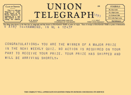 Leg Lamp Major Award Union Telegraph